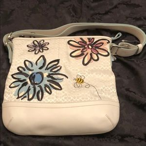 Coach flower & bee white leather tote bag.